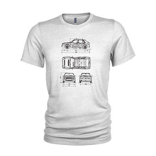 Lancia Delta HF Integrale Rally legend schematic design T-Shirt