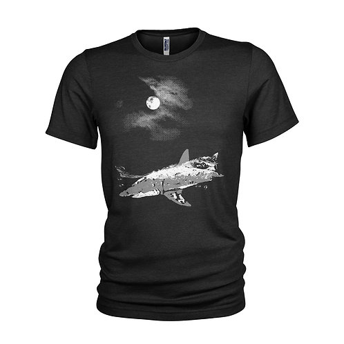 Great White Shark - moonlight night dive - scuba diving shark T-shirt