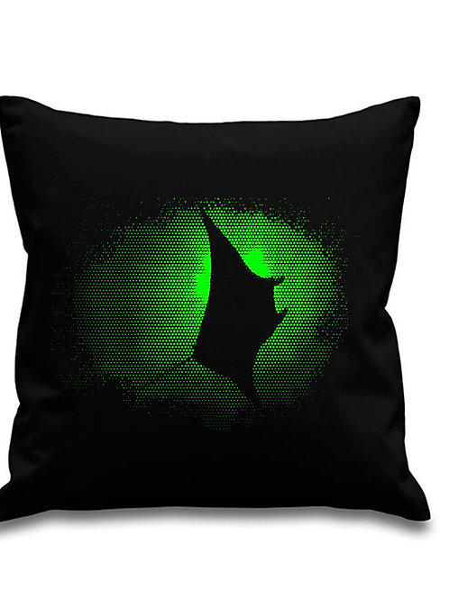 Green Manta Ray -Scuba diving - Black canvas Cushion Cover 45cm x 45cm