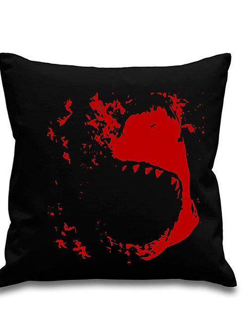 Great White Shark ATTACK - Black canvas 8oz Cushion Cover 45x45cm square
