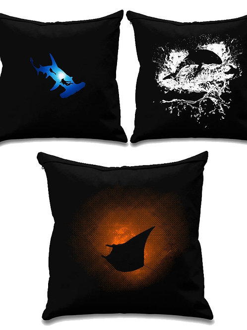 Scuba collection 4 - Scuba diving - Black canvas Cushion Covers 45cm x 45cm