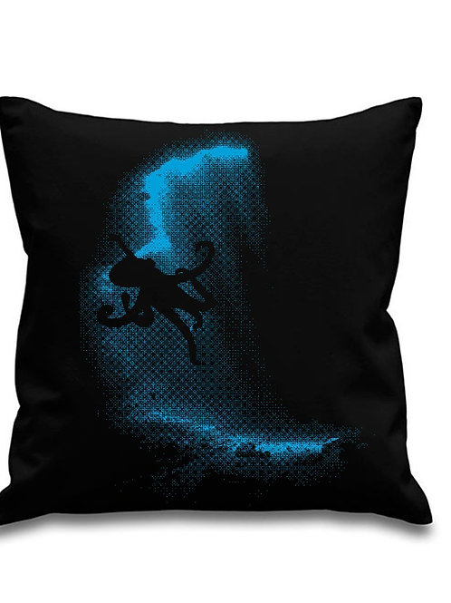 Giant Octopus - Scuba diving - Black canvas Cushion Cover 45cm x 45cm