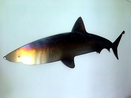 Large 6' long hand crafted brushed stainless steel Great White Shark