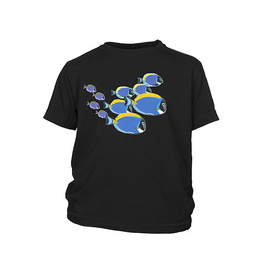 KIDS - Blue Tang Fish shoal Scuba Diving fish reef T-shirt