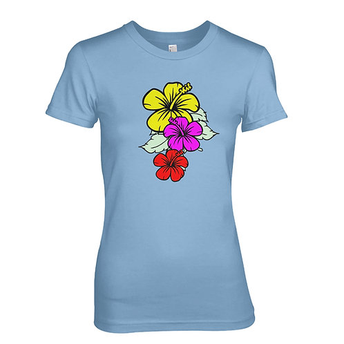 Hibiscous flower & Hawaiian surf design T-shirt - Great Beach / Holiday T-shirt