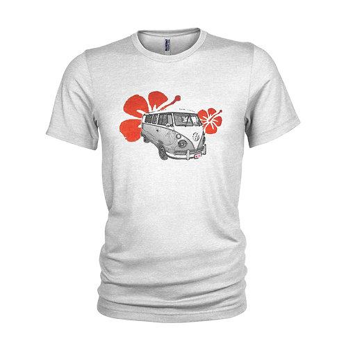 VW Campervan Sun Surf, vintage red hibiscus flower beach T-shirt