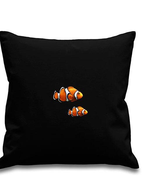 Clownfish -Scuba diving - Black canvas Cushion Cover 45cm x 45cm