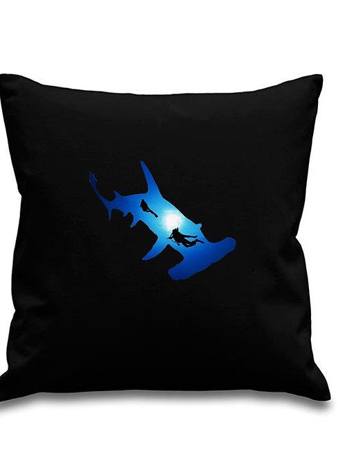 Hammerhead Shark + Divers - Black canvas Cushion Cover 45cm x 45cm