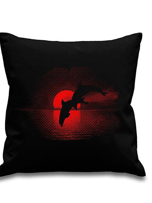 Dolphin Sunset -Scuba diving - Black canvas Cushion Cover 45cm x 45cm