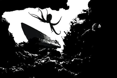 A DARK PLACE  - Unique Ocean depths Octopus & Old Submarine scuba diving T-shirt