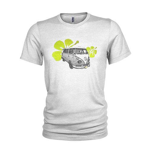VW Campervan Sun Surf, vintage yellow hibiscus flower beach T-shirt