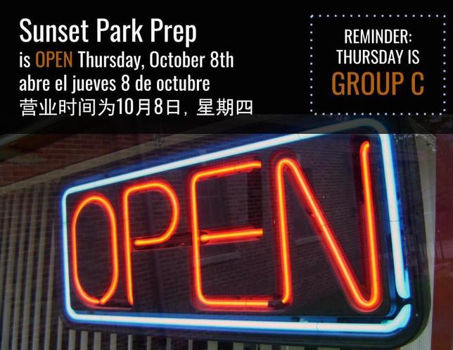 School is open on Thursday, October 8th