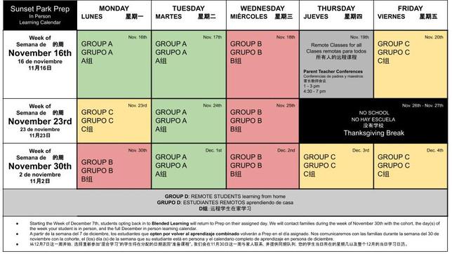 In Person Learning Calendar for November 2020