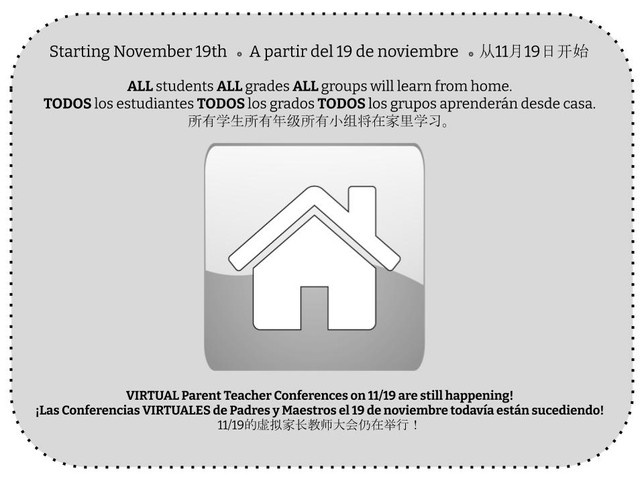 Schools fully remote starting 11/19, Parent Teacher Conferences still ON for tomorrow
