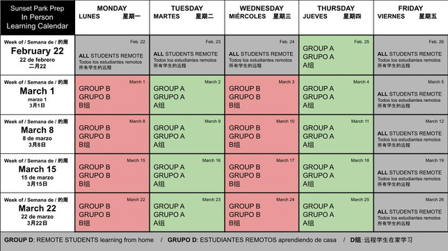 In Person learning RETURNS on February 25th (Group A) and March 1st (Group B)