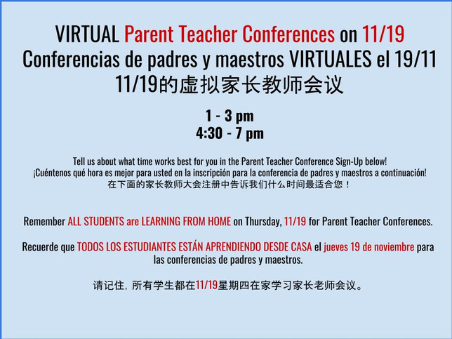 Parent Teacher Conferences on 11/19 - REMOTE DAY for students