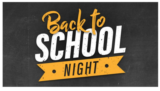 Back to School Night - Thursday, September 19th