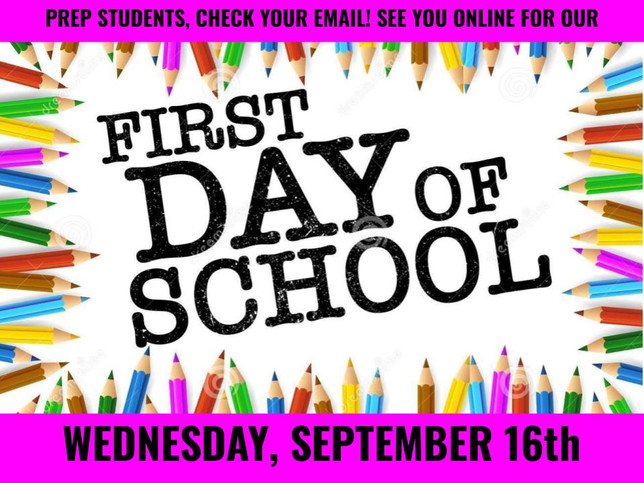 First Day of School *ONLINE* Tomorrow!