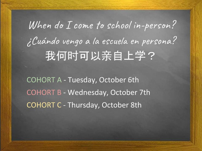 When do I come to school in-person?