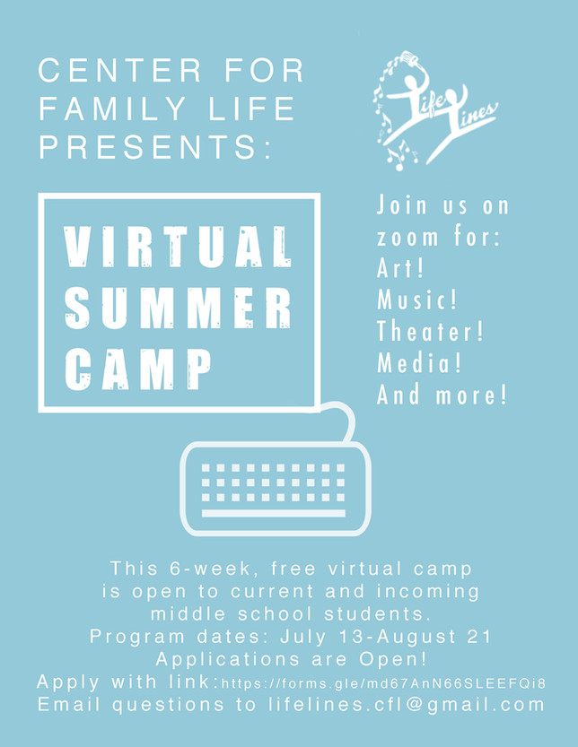 Lifelines Virtual Summer Camp: Apply now! Starts July 13th!