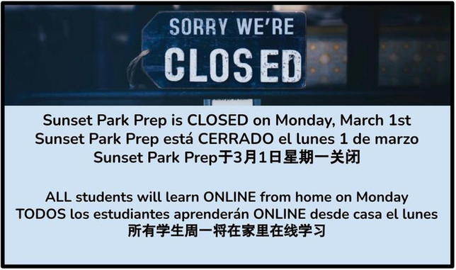 Building CLOSED on Monday, March 1st - All Students Learn from Home