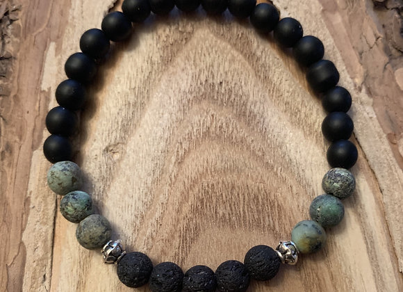 Diffuser Bracelet-African Turquoise & Black Onyx