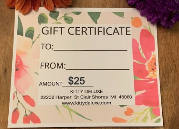 $25 Kitty Deluxe Gift Certificate
