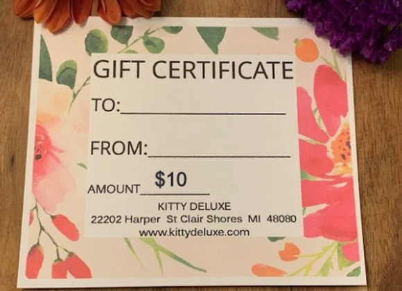 $10 Kitty Deluxe Gift Certificate