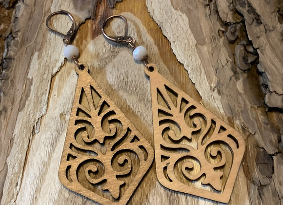 Wood and Resin Earrings - 001
