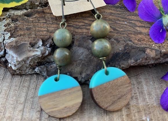 Wood and Resin Earrings - 004