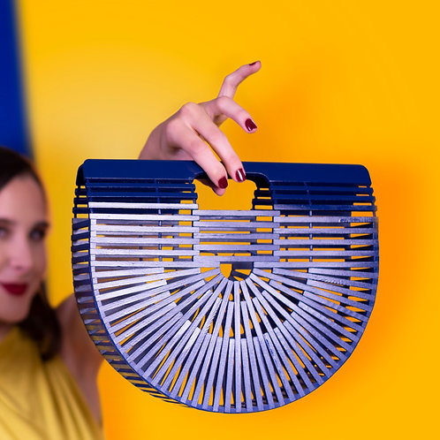 Blue Bamboo Clutch