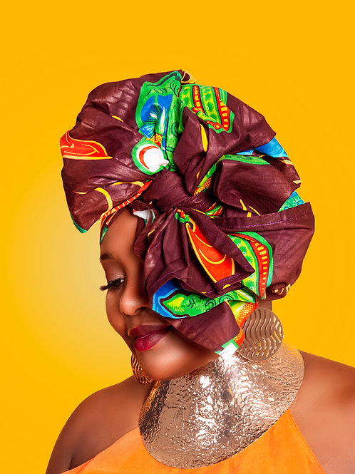 Brown, Green & Yellow African Head Wrap