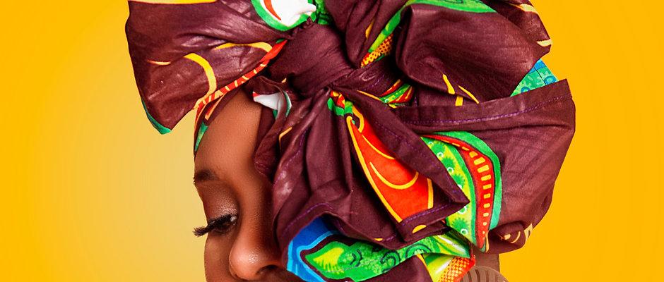 Brown, Green & Yellow African Head Wrap