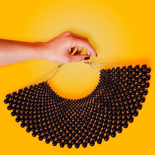African Beaded Black Necklace