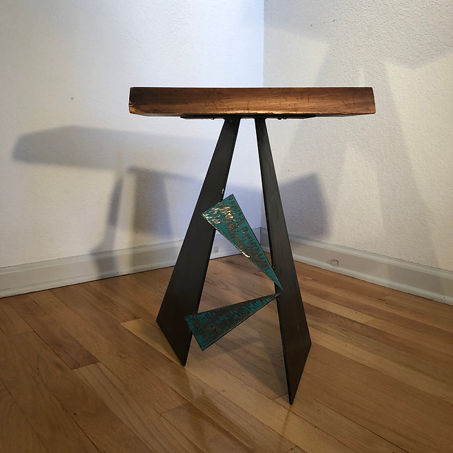 Walnut, Steel and Brass Table -Triangle