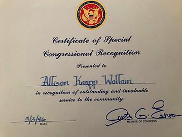 Certificate of Special Congressional Rec