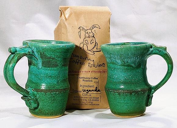 GIFT COMBO––Two Green Mugs and 12 oz Crumb Bunny Coffee