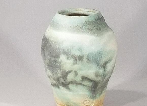 Vase with Variegated Matte Green Glaze