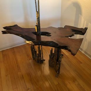 Brazed steel, redwood, light; 3' L, 2.5' W, 5' H