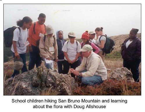 School children hiking San Bruno Mountai