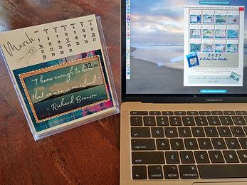 desk calendar, laptop