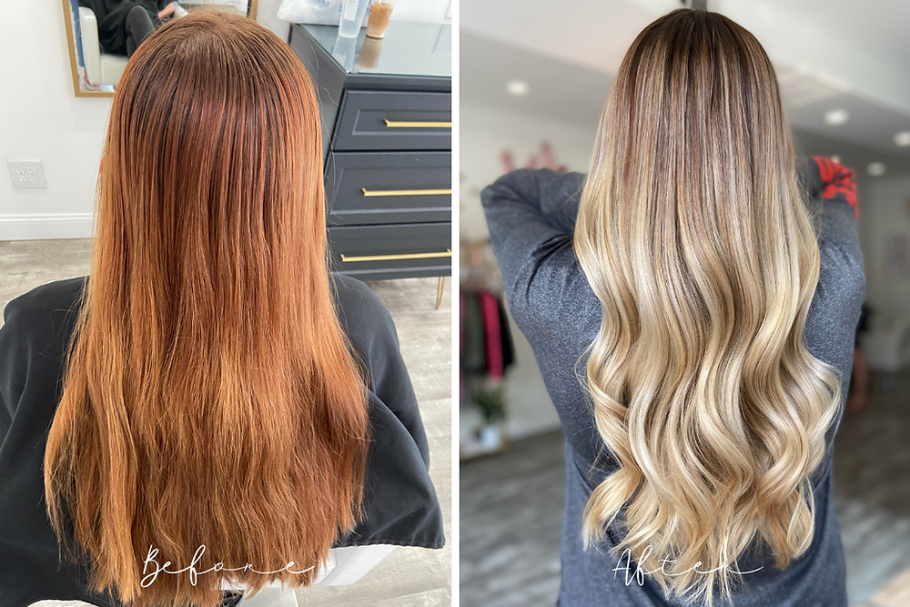 Before and After - Red Hair To Blonde - Full Bayalage