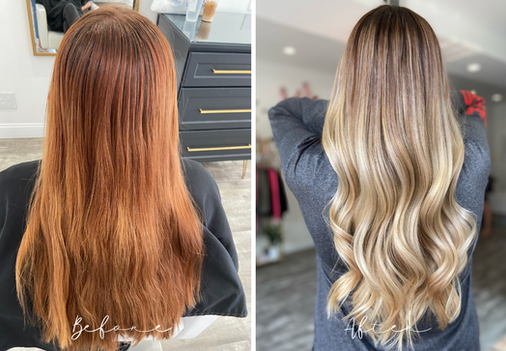 Full Balayage and Highlights - Red Hair to Blonde Transformation