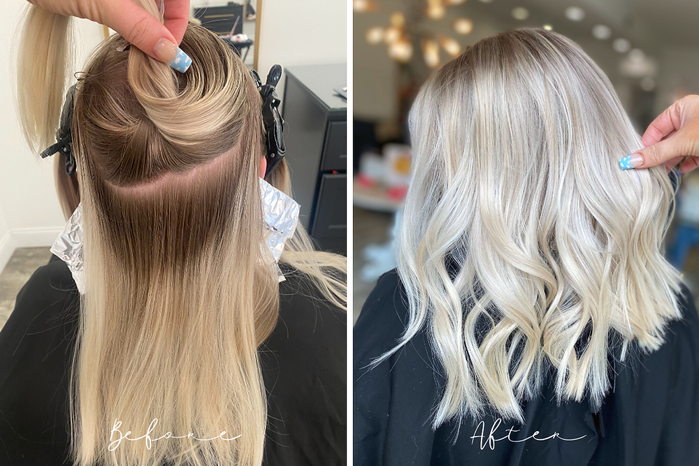 Before and After - Blonde Highlight - Brecksville Ohio