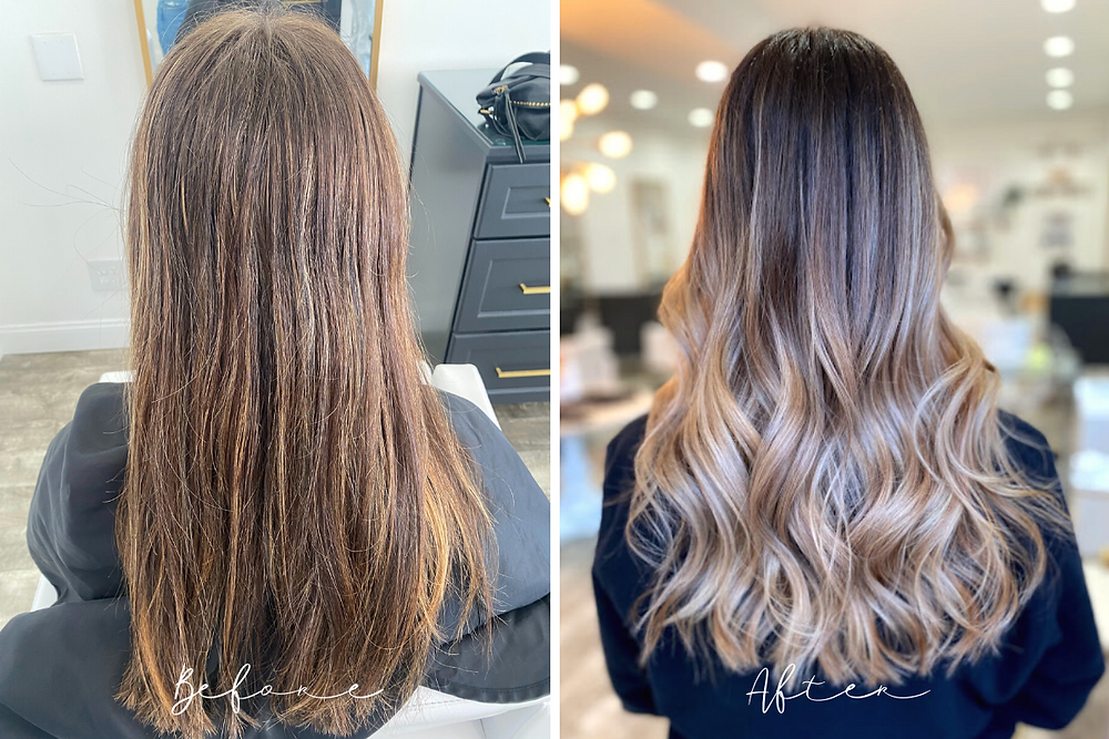 Before and After - Full Balayage - Brunette to Soft Beige Blonde