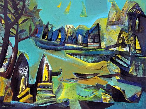 Acrylic on Canvas by Tapas Ghosal