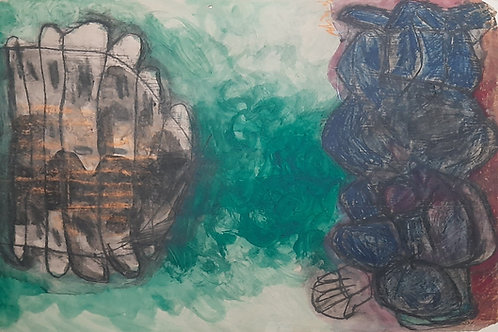 Mixed Media on Paper  by K. M. Adimoolam