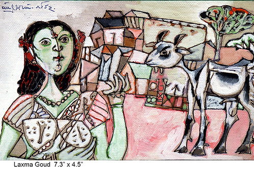 Tempera on paper by K Laxma Goud