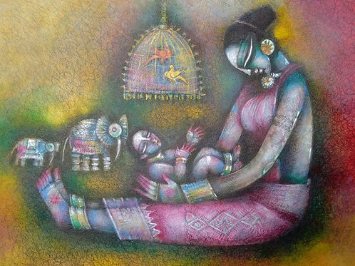 Watercolour on Paper  by A. Selvaraj