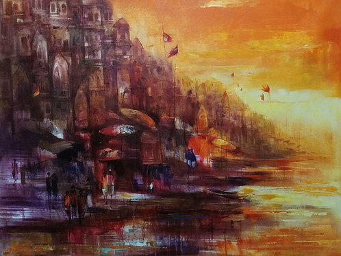 Acrylic on Canvas by Durga Charan Das